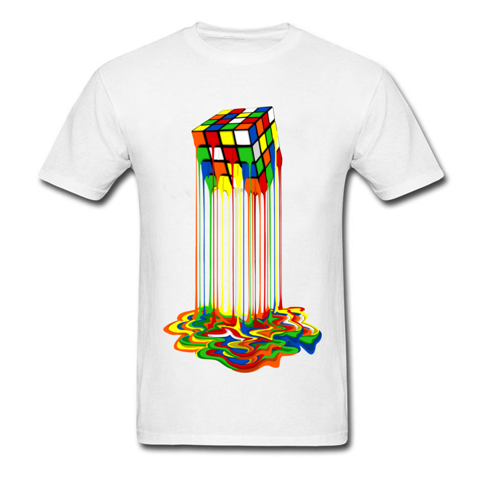 Rainbow Abstraction melted rubix cube_white
