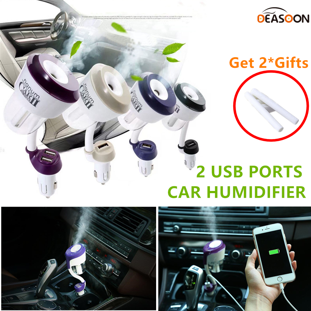 2 USB ports Auto Humidifier Aromatherapy Essential Oil Diffuser Air Purify Aroma Diffuser with Dual USB Car Charger