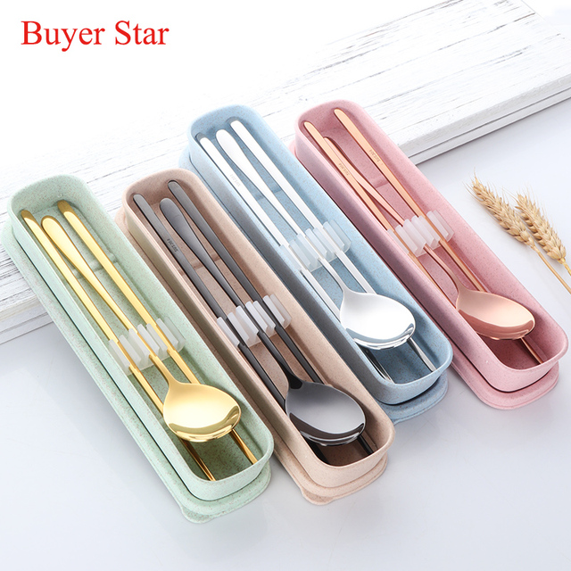 Buyer Star Cool Color Golden Stainless Steel Tableware Set Korean Sweet Adult Students Portable Dinnerware Set & Buyer Star Cool Color Golden Stainless Steel Tableware Set Korean ...
