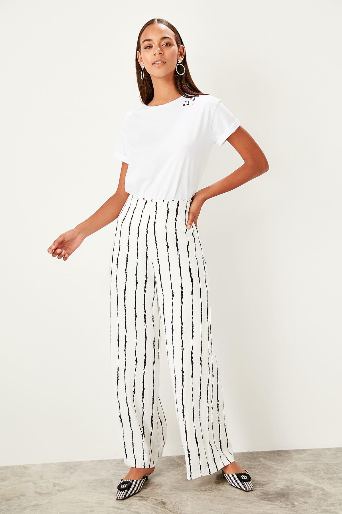 Trendyol White Striped Pants TWOSS19PL0063