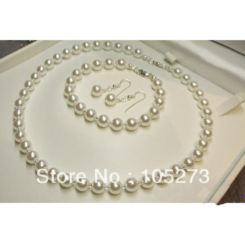 Cheap Pearl Necklace Sets: Wholesale Handmade Pearl Jewelry Set Natural White Pearl 4