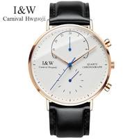 Carnival I&W Ultrathin Quartz Watch Men Fashion Leather Strap Mens Watches Waterproof Wristwatches Male Clock saat erkekler 2018