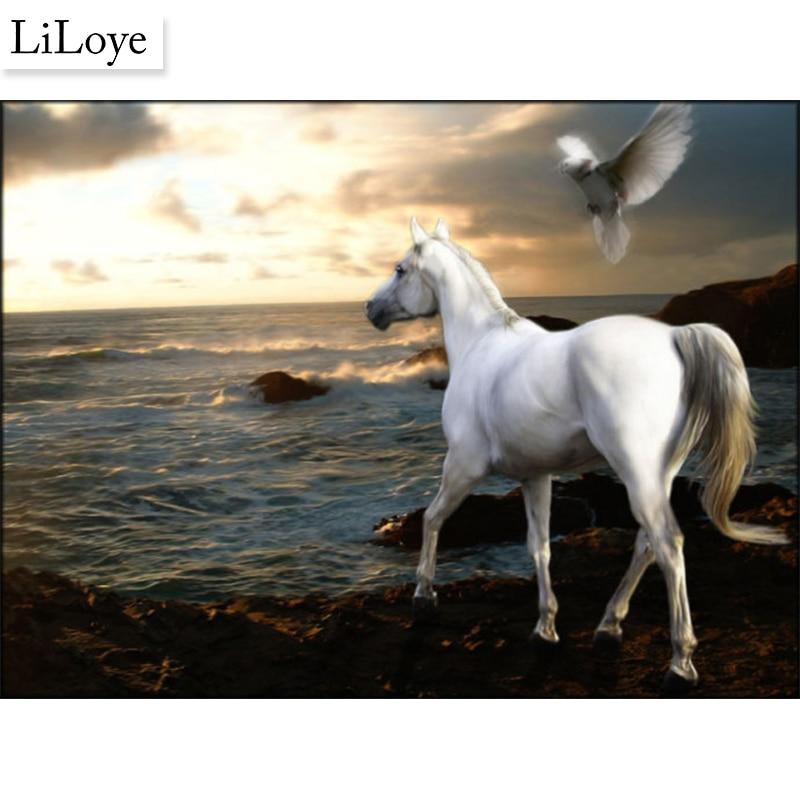 Li Loye White Dragon Horse Crafts Diamond Painting Drawing Arts Crafts Mosaic Full Round Diamond Embroidery Animals Decoration