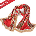2017 New Gold Gilding 100% Pure Silk Women Lady Top Quality Brand Vintage Flower Painted Red Color Silk Scarves Scarf