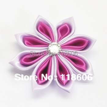 Hot Sale  50pcs/lot  Handmade PInk Kanzashi Flower Hair Flowers WITHOUT CLIP Free Shipping