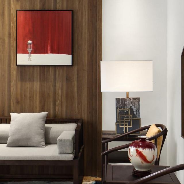 미국 현대 간단한 대리석 기본 패브릭 전등 갓 침실 거실 장식 조명기구에 대 한 led 침대 옆 테이블 램프 탁상 램프    -