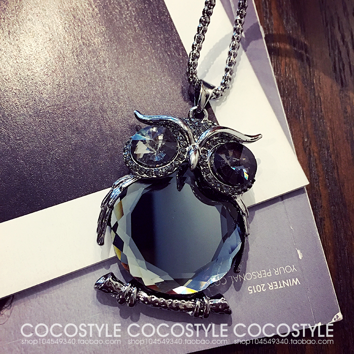 Fashion Womens Necklaces Jewelry Trendy Charms Crystal Owl Necklace black Long Chain Animal Necklaces&Pendants 2017 Hot Sale
