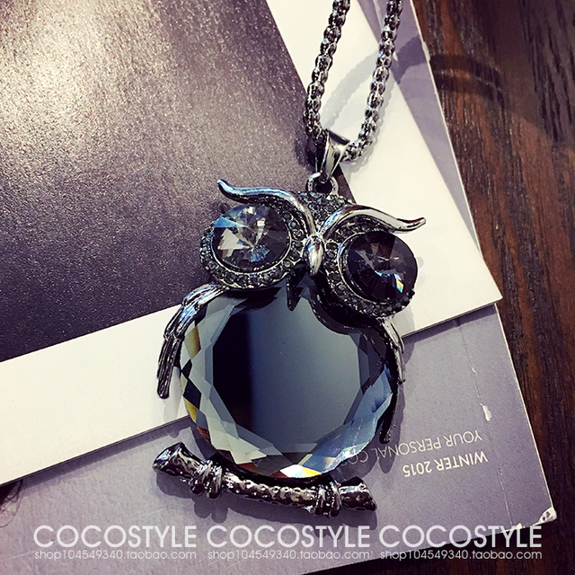 Fashion womens necklaces jewelry trendy charms crystal owl necklace fashion womens necklaces jewelry trendy charms crystal owl necklace black long chain animal necklacespendants 2017 hot aloadofball Image collections