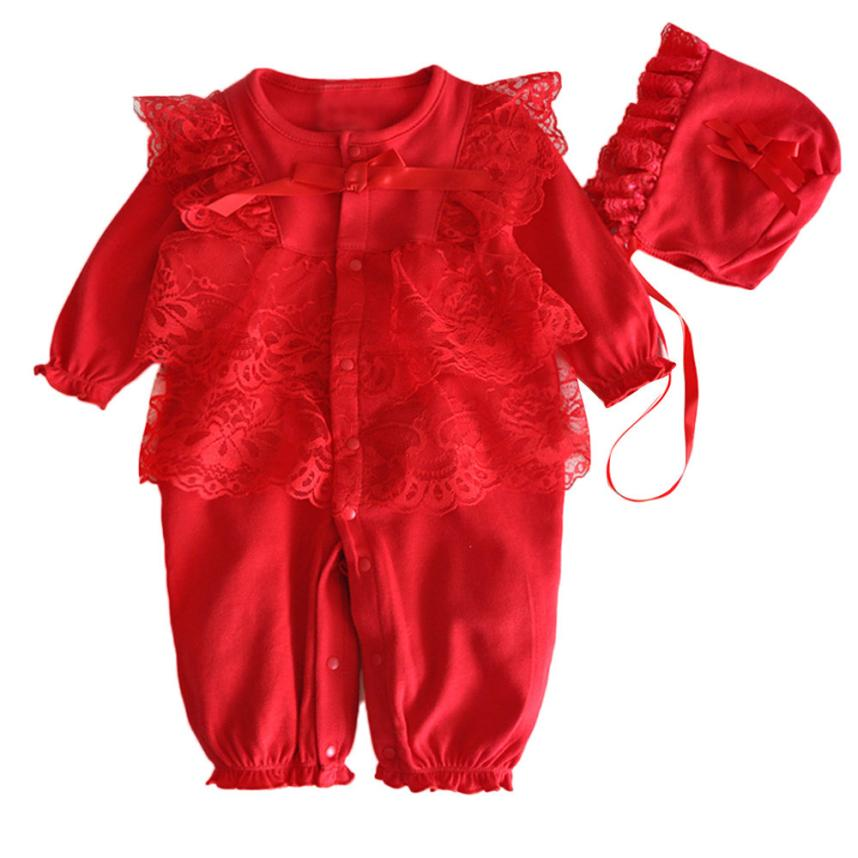 LONSANT Newborn Infant Baby Kids Girls Cap Hat+Lace Romper Jumpsuit Clothing Set Outfit Red Drop Shipping E1640