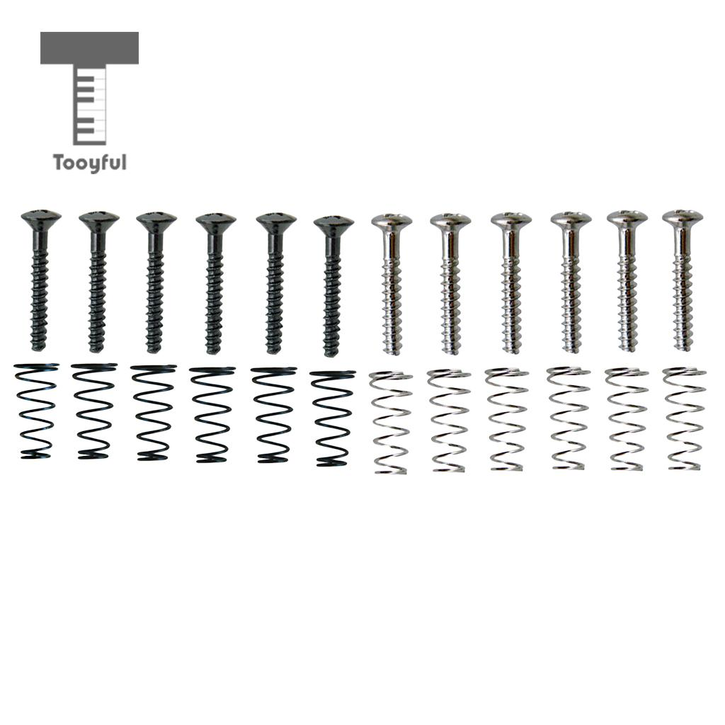 Tooyful 6 Pieces Iron Sss Single Coil Pickup Adjusting Height Screws With Springs Set For