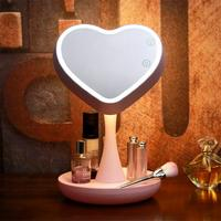 LED Makeup Mirror Table Touch Sensor Cosmetic Mirror Pink, White USB Charging for Bedroom 3.8W 5V 2000 mAh