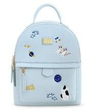 Ensso кошка вышивка изображениями животных для девочек синий на молнии сумки PU кожаные женские сумки на ремне книга рюкзак сумки на плечо кисточки