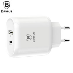 Baseus Type C PD Quick Charge USB Charger 32W EU Plug Adapter Universal 5V/3A Travel PD Fast Charging For iPhone Samsung Xiaomi