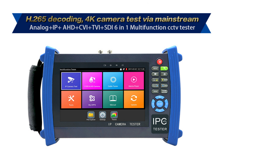 7inch cctv tester IPC-8600MOVTADHS Plus 1920*1200 resolution + new systems.4K H.265 video display via mainstream.RJ45 cable TDR