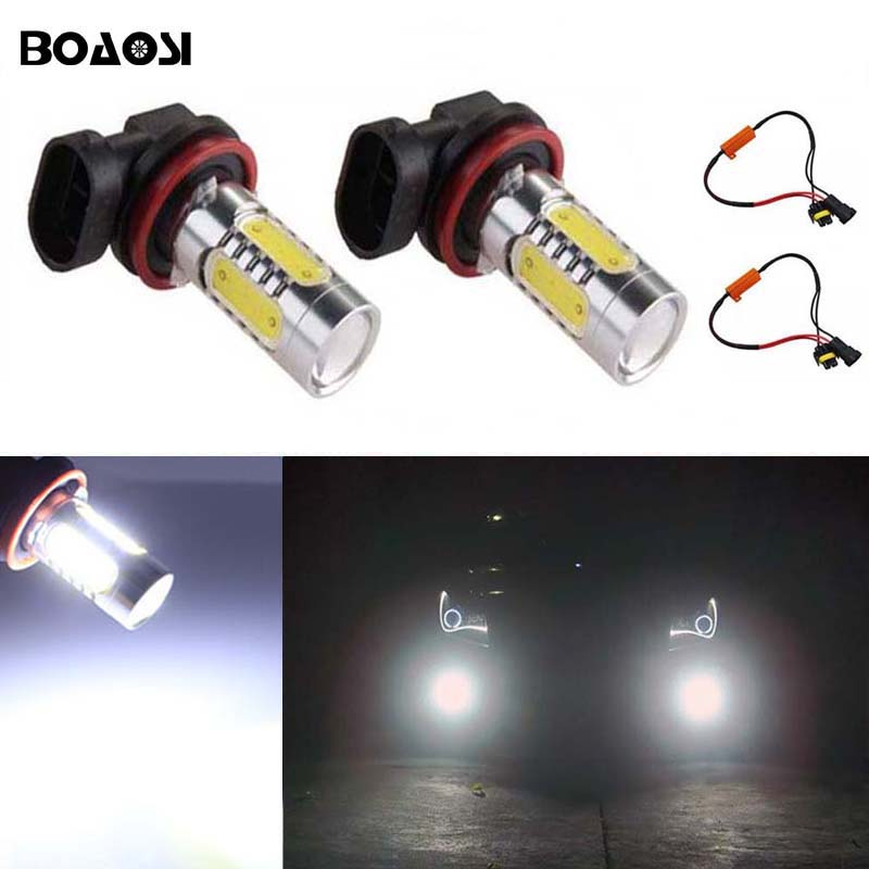 BOAOSI 2x Led COB H11 H8 Lighting 7.5W Car Driving Fog Light Lamp Bulb No Error For Skoda Octavia 2010-2014 2x bright error free h8 h11 led projector fog light bulb for citroen c2 c4 c4l c5 triumph