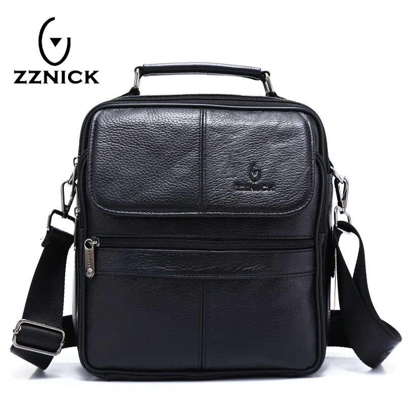ZZNICK 2018 Genuine Cowhide Leather Shoulder Bag Small Messenger Bags Men Travel Crossbody Bag Handbags New Fashion Men Bag 2017 new female genuine leather handbags first layer of cowhide fashion simple women shoulder messenger bags bucket bags