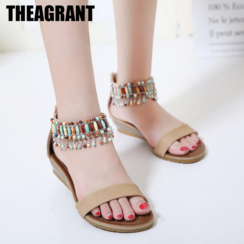 22dbe2f0004 THEAGRANT 2018 Bohemian Beaded Women Sandals Ankle Cuff Low Wedges Casual  Beach Soft Pu Leather Lady Shoes Plus Size WSS3016