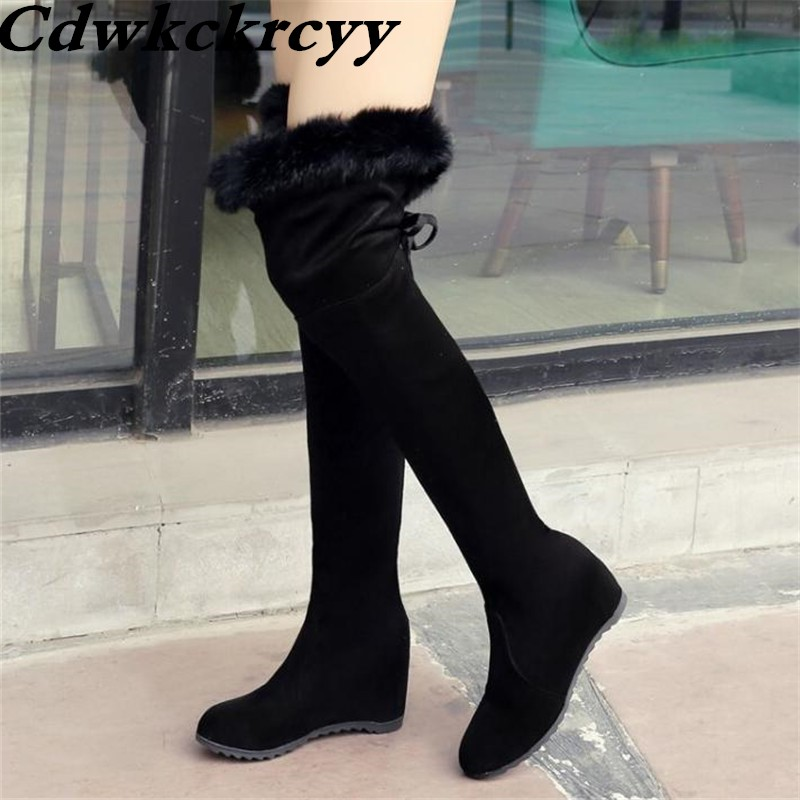 Winter New Pattern Over The Knee Boots Suede Grind Rabbit's Hair Internal Increase Lean Leg Women Boots Plus Size 34-43