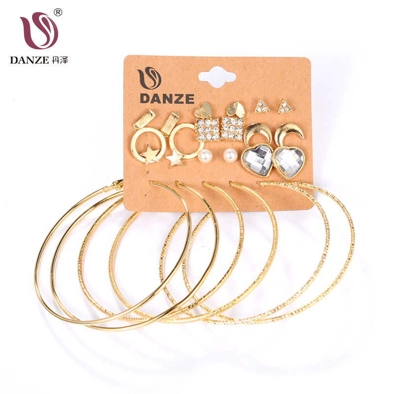 DANZE 12 Pairs/pack Small Star Heart Moon Crystals Earring Sets Women Girls Big Circle Hanging Ear Studs Gold Earrings Jewelry