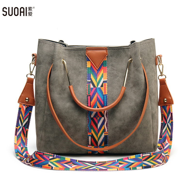 SUOAI Women Fashion Composite Bag High Quality Shoulder Bag Pu Leather Knitting Female Bucket Handbags free shipping fashion new handbags high quality pu leather women bag british retro bucket bag lock chain shoulder female bag