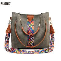 SUOAI Women Fashion Composite   Bag   High Quality Shoulder   Bag   Pu Leather Knitting Female Bucket Handbags