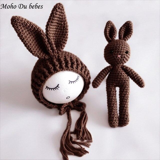 1 Satz Häkeln Baby Nette Häschen Kostüm Hut Und Kaninchen Spielzeug