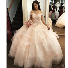 Bead Ball Gowns Quinceanera Dresses Off The Shoulder Ruffle Tiered Puffy Prom Appliques Beading Party 2019