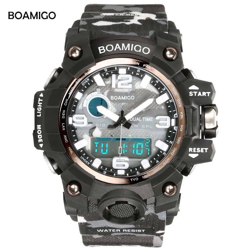 BOAMIGO Brand Men Sports LED Digital Quartz Watches Camouflage Military man shock watch 50m Waterproof Rubber Clock Reloj Hombre boamigo men sports watches brown leather band man military quartz led digital analog casual wristwatches waterproof reloj hombre