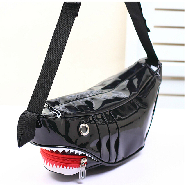Free Shipping Funny Bag Style Shark Man Chest Women Lady Causal Lovely Patent Leather