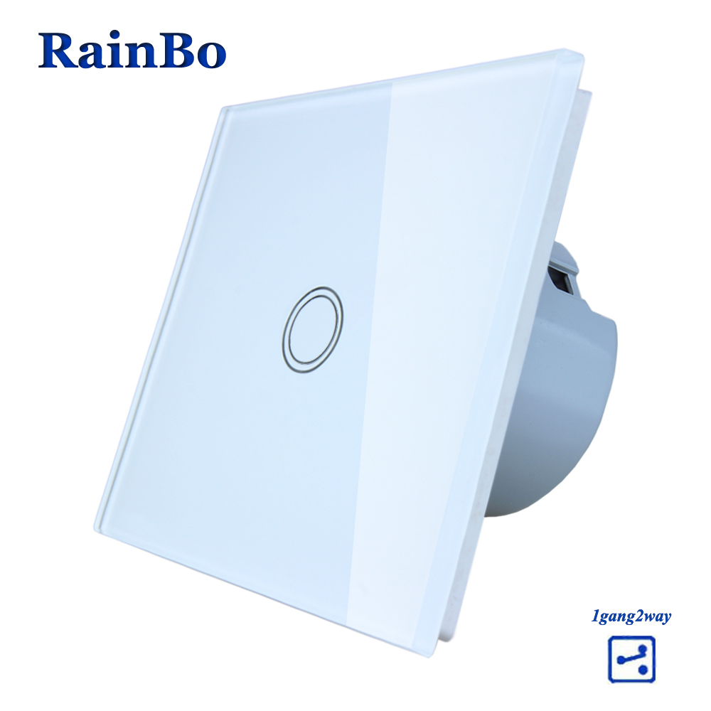RainBo Crystal Glass Panel Switch EU Wall Switch 110~250V Touch Switch Screen Wall Light Switch 1gang2way for LED Lamp A1912XW/B eu plug 1gang1way touch screen led dimmer light wall lamp switch not support livolo broadlink geeklink glass panel luxury switch