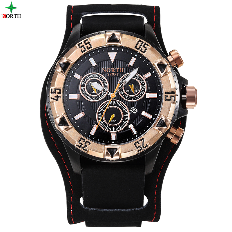 NORTH  Men Chronograph Watch Men Sport Watch Leather Quartz-Watch Waterproof Clock Date Men's Wrist Watch relogio masculino seiko watch premier series sapphire chronograph quartz men s watch snde23p1
