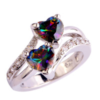 Women Brilliant Colorful Rainbow Topaz 925 Silver Ring Size 6 7 8 9 10 11 12 New Fashion Jewelry Gift Free Shipping Wholesale