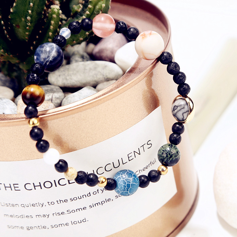 9 Planets Universe Stars Natural Stones Bracelte in Jewelry Braceltes For Women Bileklik ...