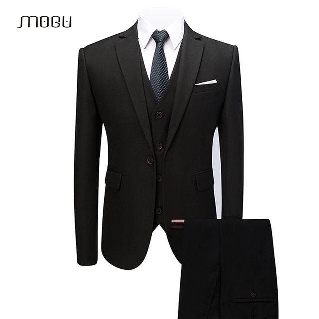 MOGU Mens Slim Dress Suits 2018 Spring Elegant 3 Piece Suits  Jacket  for Wedding Business  Prom Skinny Coats  5XL 6XL 9 Colors