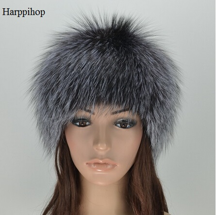 Harppihop FUR women winter fur hat genuine fox fur hats knitted silver fox fur caps female