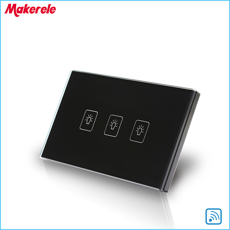 Remote Control Wall Switch US Standard Remote Touch Switch Black Crystal Glass Panel 3 Gang 1 way  with LED Indicator remote switch wall light free shipping 3 gang 1 way remote control touch switch eu standard gold crystal glass panel led