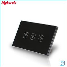 Remote Control Wall Switch US Standard Remote Touch Switch Black Crystal Glass Panel 3 Gang 1 way  with LED Indicator