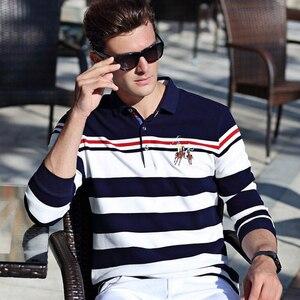 Image 2 - Outono inverno nova camisa polo de alta qualidade da marca de algodão polo masculino negócio casual listrado sólida camisa polo