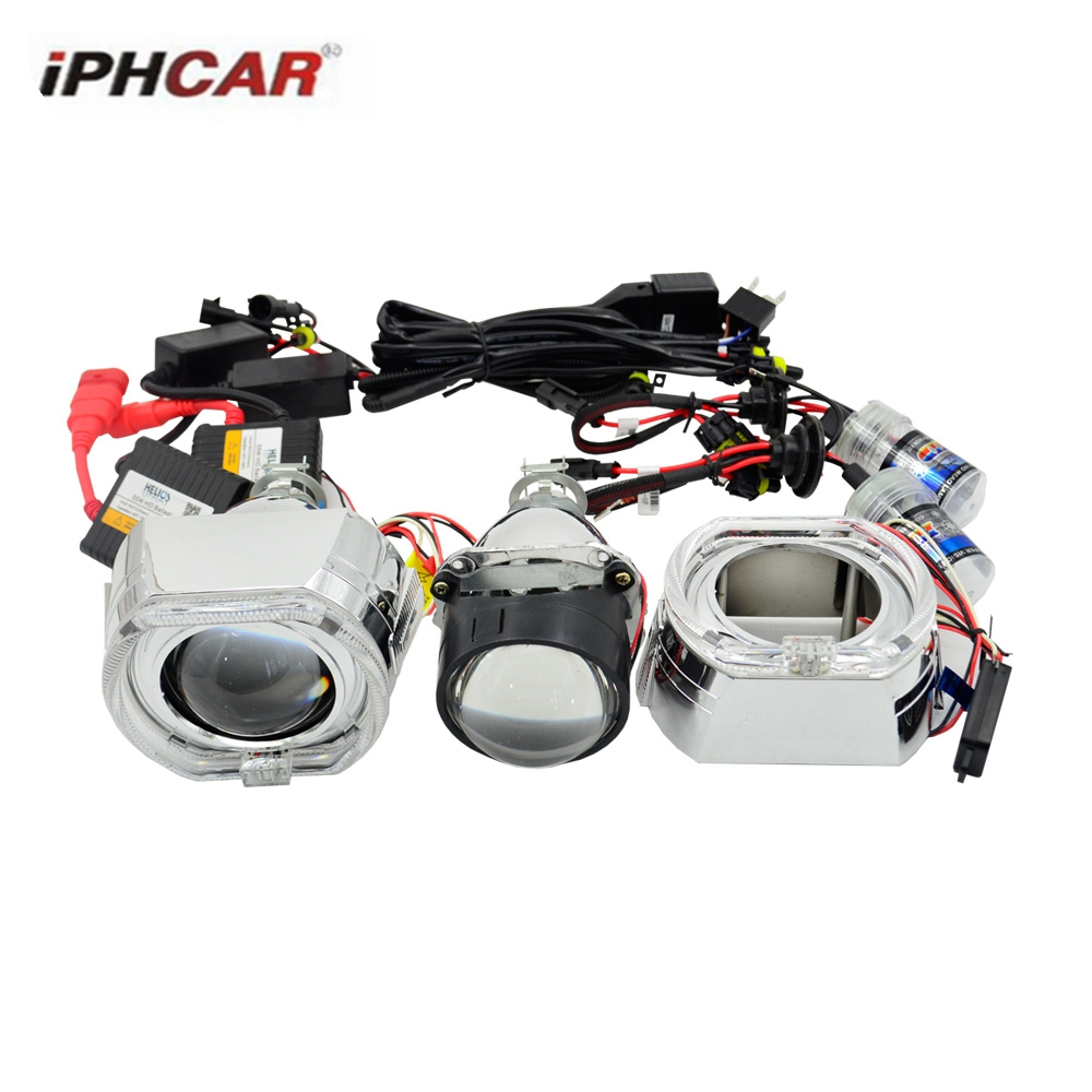 2.5inch hid bixenon projector lens car assembly Ac xenon kit DRL square day running angel eyes angel eyes hearlight  H1 H4 H7 gztophid car styling retrofit 2 5 h1 hid wst bixenon projector lens h4 h7 with ccfl angel eyes for car headlight