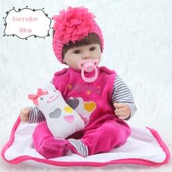 Forrsdor 16 40 cm Lifelike boneca reborn silicone completa realista reborn bebe Sílica Macio Lifelike Renascer Boneca de presente de aniversário