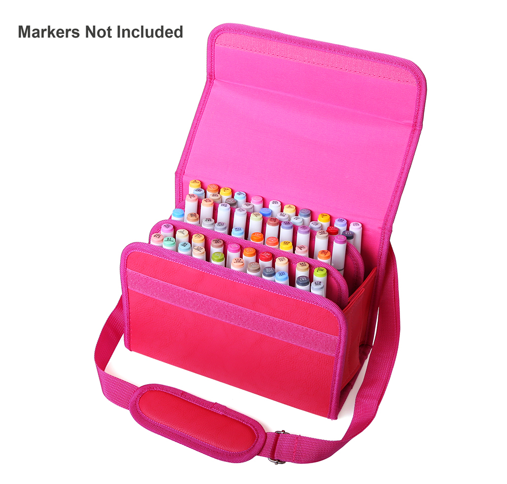 Dainayw 60 Slots Marker Pen Case PU Leather Organizer Marker Case Assembled Holder for Art Supplies touchnew 60 colors artist dual head sketch markers for manga marker school drawing marker pen design supplies 5type