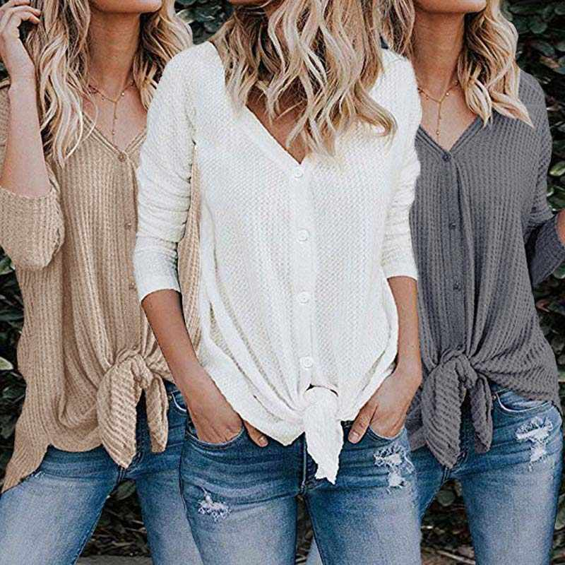 db7aece1aadc1 ... Women Waffle Knit Tunic Blouse Tie Knot Henley Top Loose Fitting Bat  Wing Plain Shirt Button ...