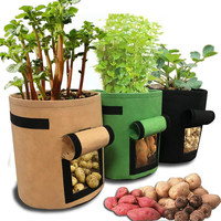 3Pcs Plant Grow Bags Non woven Cloth Pot Gardening Vegetable Potato Planter Bag Garden Pot Planting Grow Bag Garden Supplies