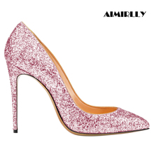 Women Shoes Pointed Toe High Heels Pumps Stilettos Spring Summer Autumn Wedding Shoes Party Sexy Heels Glitter Slip-On Pink Gold blue with gold wedding pumps peep toe high heels slip on stilettos party shoes 2016 new women pumps sweet bridal pump shoes