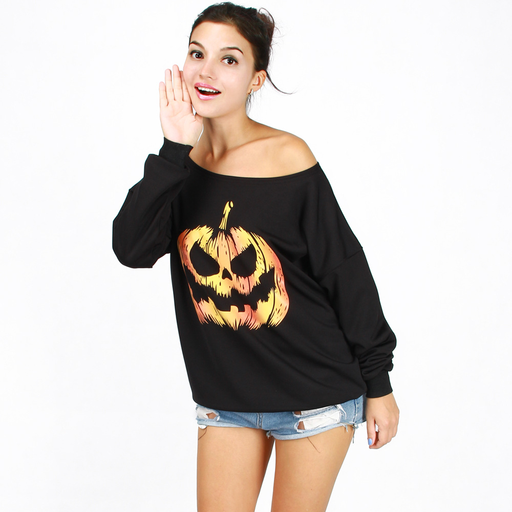 170af77836bb Halloween Female Autumn And Winter Loose Casual Long Sleeve Funny Pumpkin  Printing T Shirt Off The Shoulder Tops Ladies T-Shirts