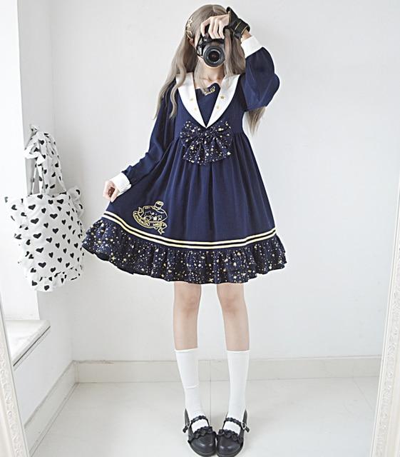 7eb238d0a399 Star Collection Cute Women s Dress Stars Lolita OP Long Sleeve Sailor  Collar Dress One Piece Color