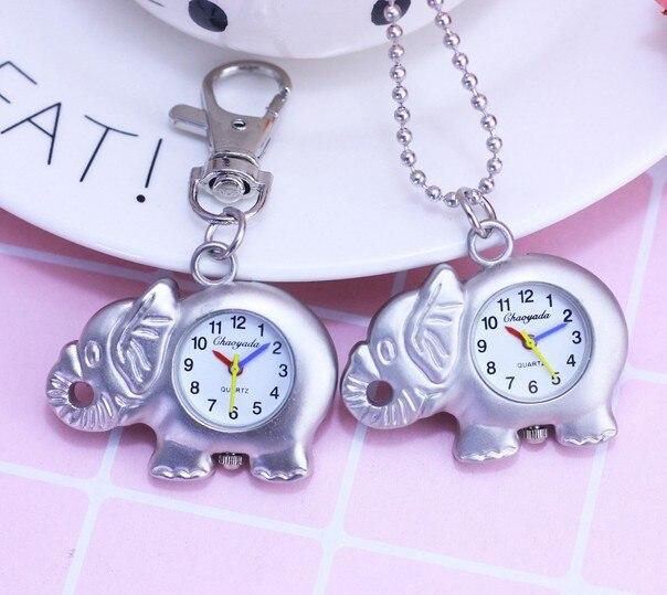 chaoyada silver Cartoon Animal Elephant Activity Pocket Watch Key Chain Hanging