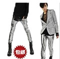 Free shipping 2015 New Spring Mens Fashion Leather Pants Costumes Star With Tide Korean Slim Pants Feet Dance Pants/M-XXL