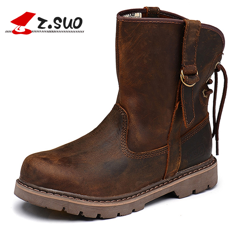 Z.Suo Autumn /Winter Brand Women High Top Boots Crazy Horse Brown Cow Leather Motorcycle Cowboy Botas Woman Outdoor Boots crazy for the cowboy