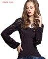 НАСЛАЖДАТЬСЯ ПЛЮС 7% ОТ груди 78-93 см старинные марки осень пуловеры шерсти и хлопка свитер женщины 2016 черный фонарь с длинным рукавом